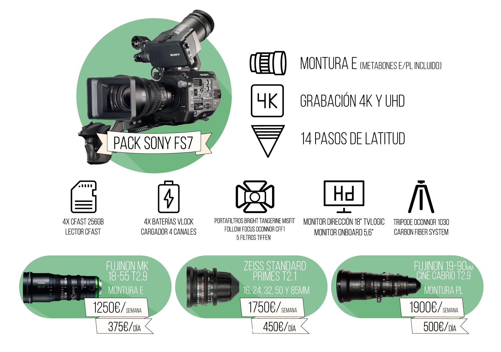 Packs en oferta con Sony fs7 | Alquiler cámaras | Camaleón Rental